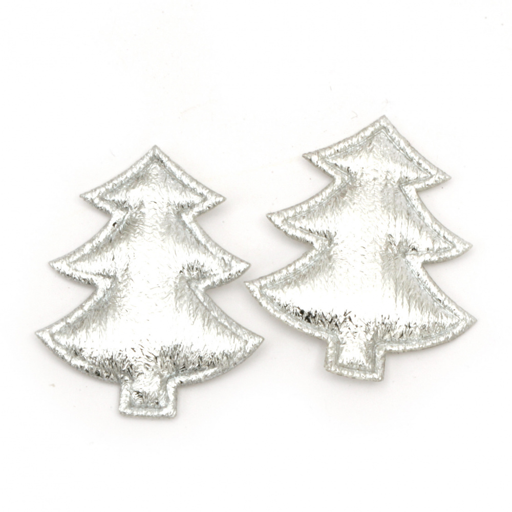 Christmas tree textile 35x30 mm color silver -10 pieces