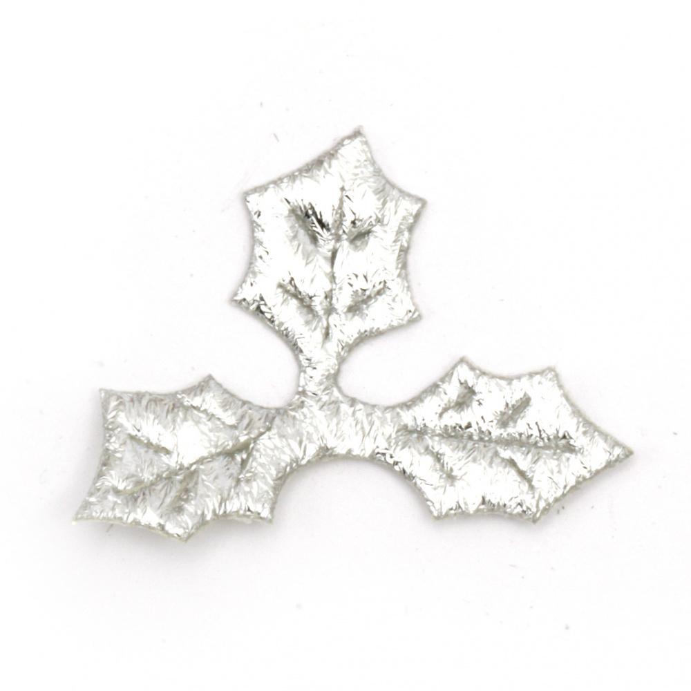 Leaf had textile 40x30 mm color silver -20 pieces