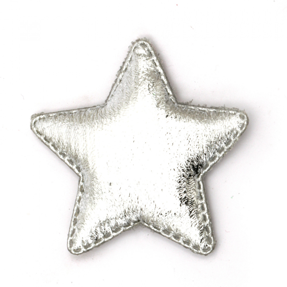 Star textile 48x40 mm color silver -5 pieces
