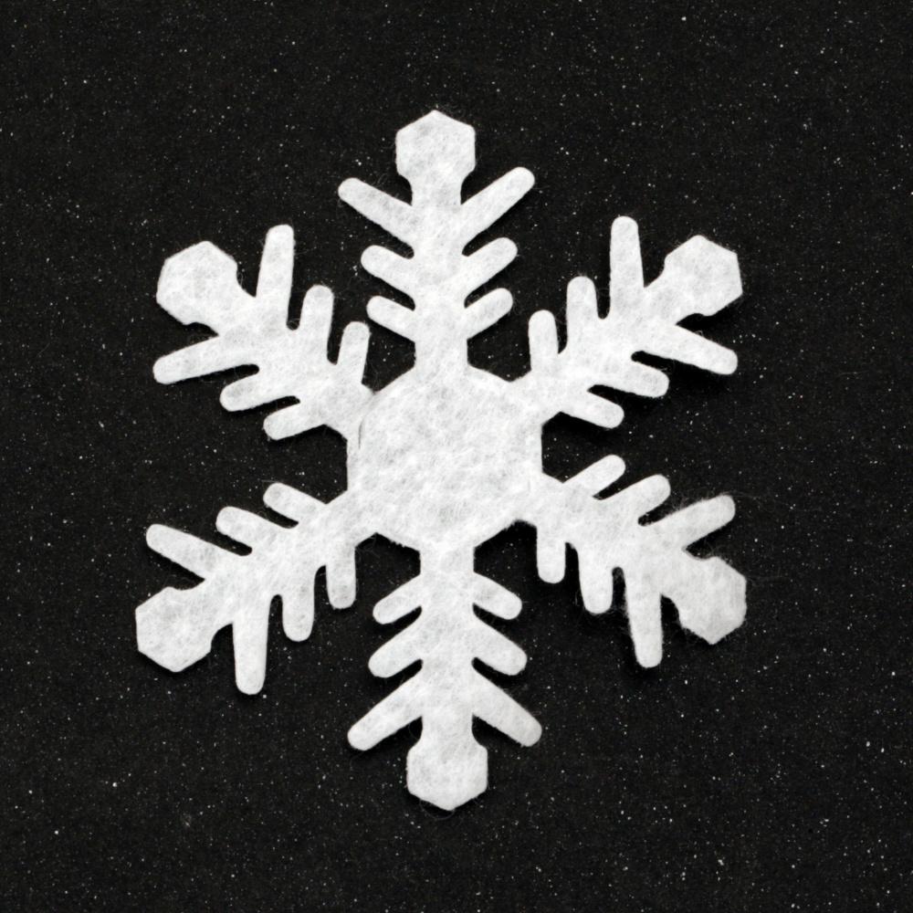 Snowflake textile 65 mm color white -10 pieces