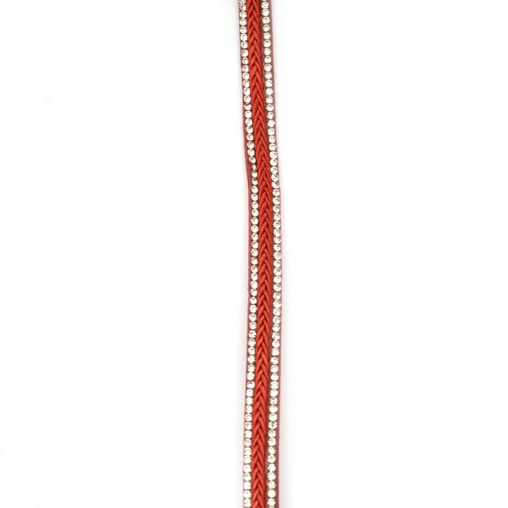 Συνθετικό σουέτ κορδόνι 10x4 mm κόκκινο με στρας -1 μέτρο