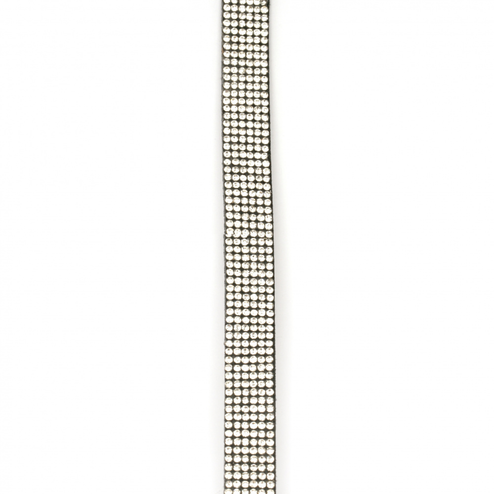 Συνθετικό σουέτ κορδόνι 13x3 mm μαύρο με στρας - 1 μέτρο