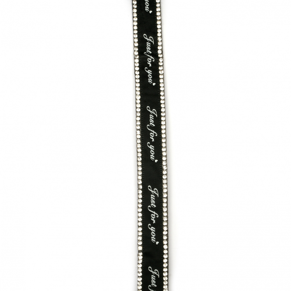 Suede tape 15x3 mm with two rows of crystals and inscription black -1 meter