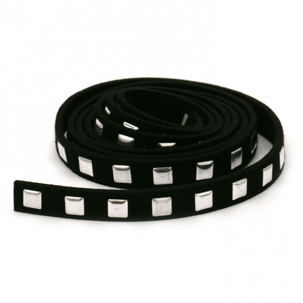Suede tape 8x2 mm with aluminum cabochons black -1 meter