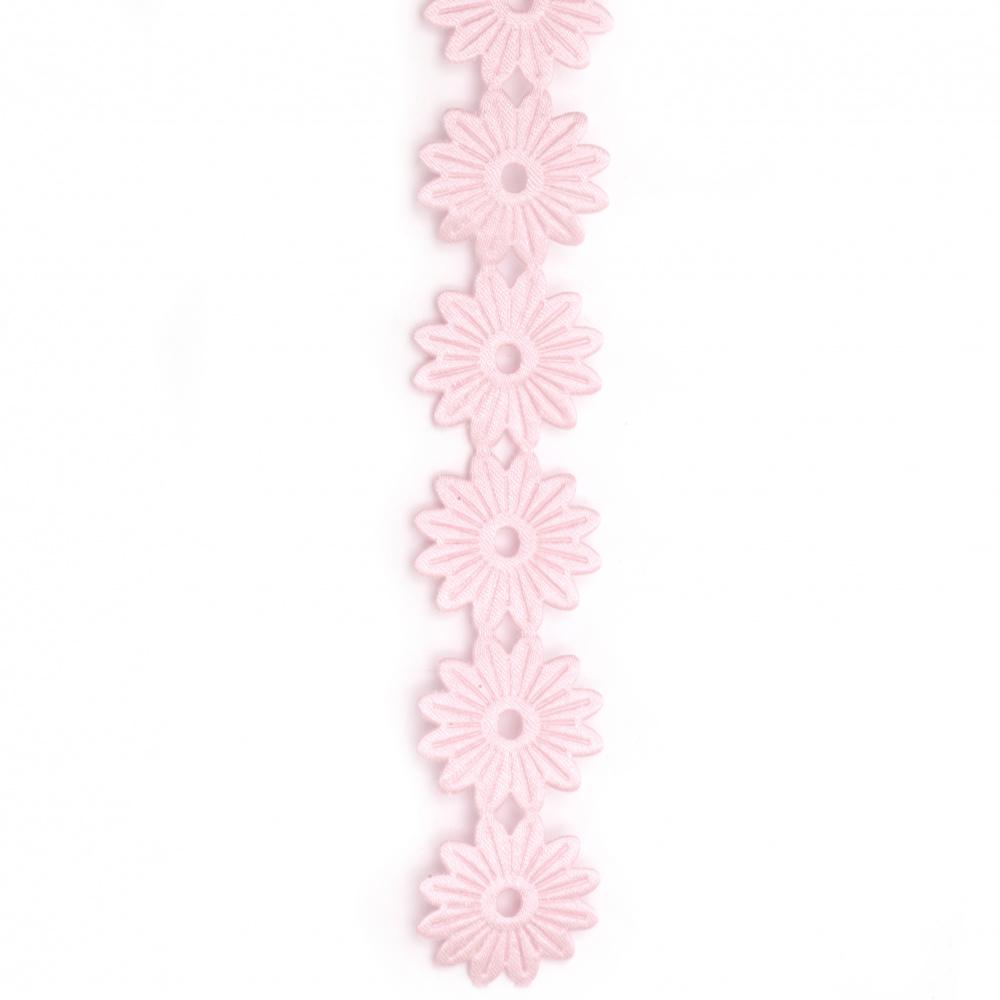 Ширит цвете сатен 25 мм розов -1 метър