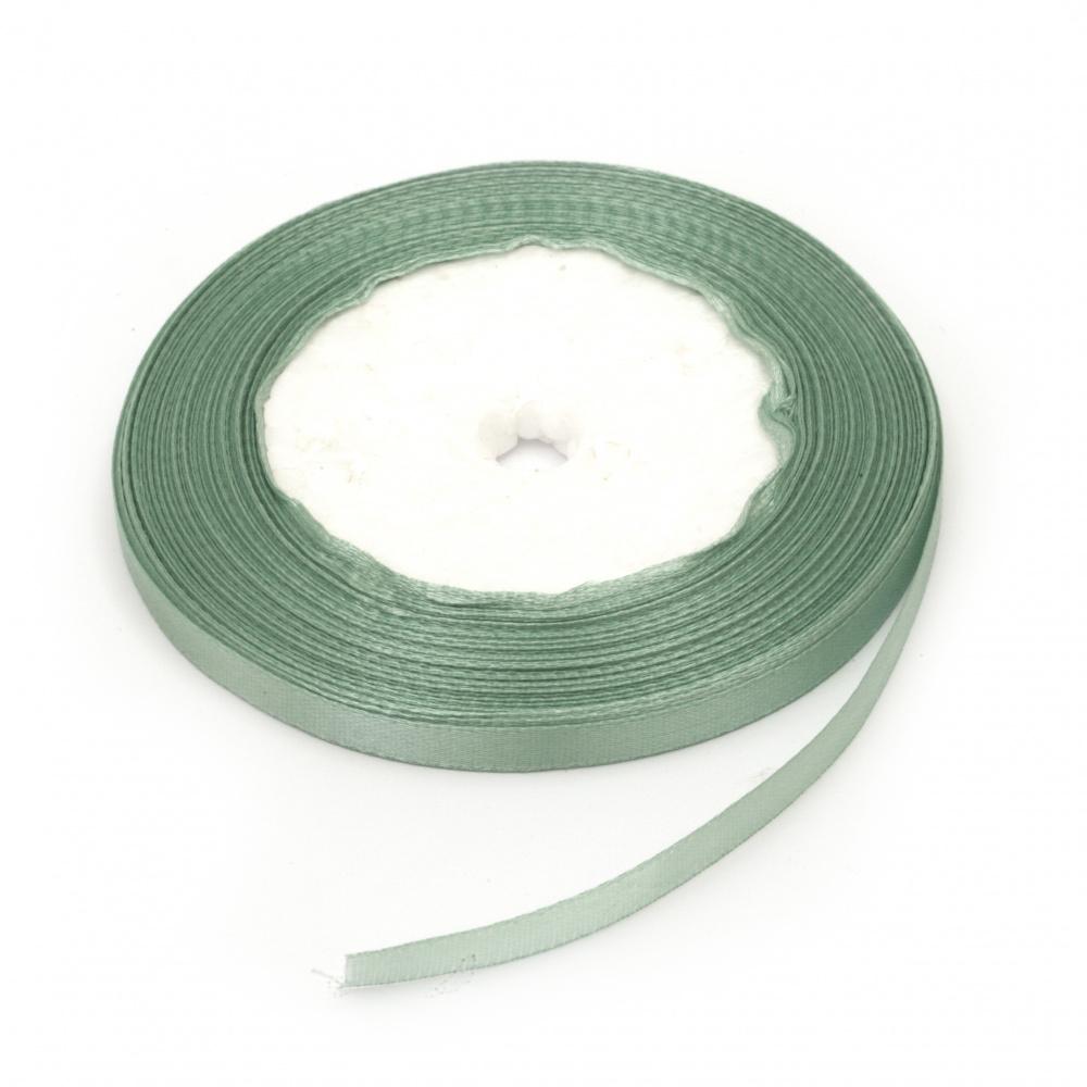 Сатенен ширит/за декорация/ 6 мм пастелно зелен ~22 метра