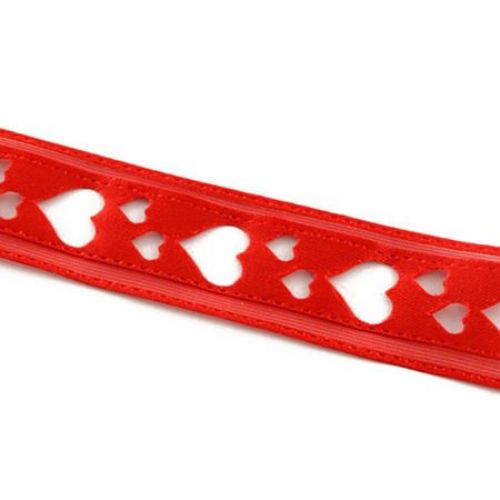 Ширит сатен 18 мм сърца цвят червен -3 метра