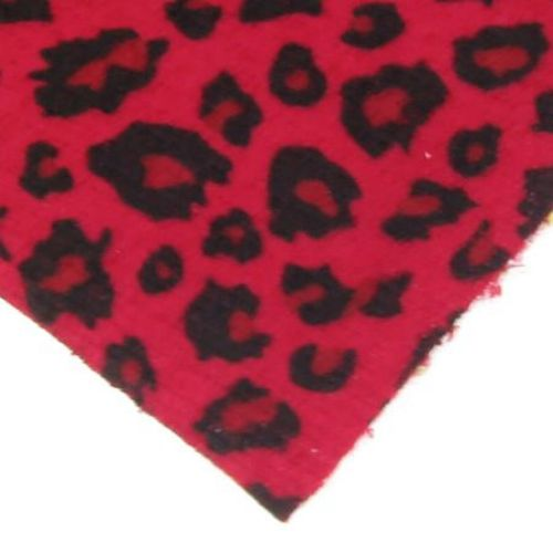 Velur A4 (21x29,7 cm)  desen leopard adeziv roșu