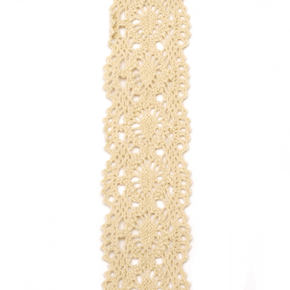 Ribbon lace cotton 45 mm color beige ~ 1.80 meters