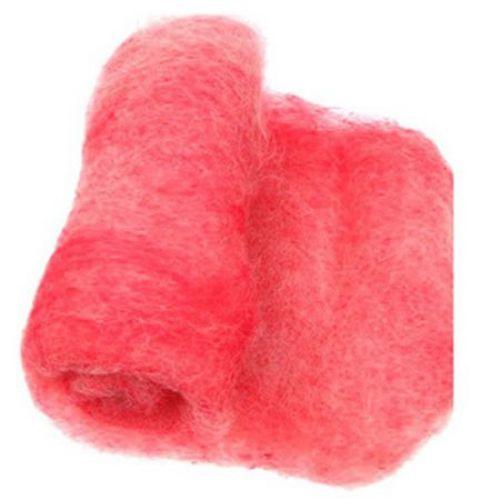ВЪЛНА 100 процента Филц за нетъкан текстил 700x600 мм екстра качество меланж бяло, червено -50 грама