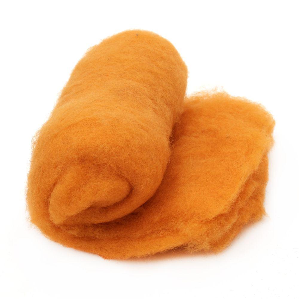 ВЪЛНА 100 процента Филц 700x600 мм оранжева -50 грама