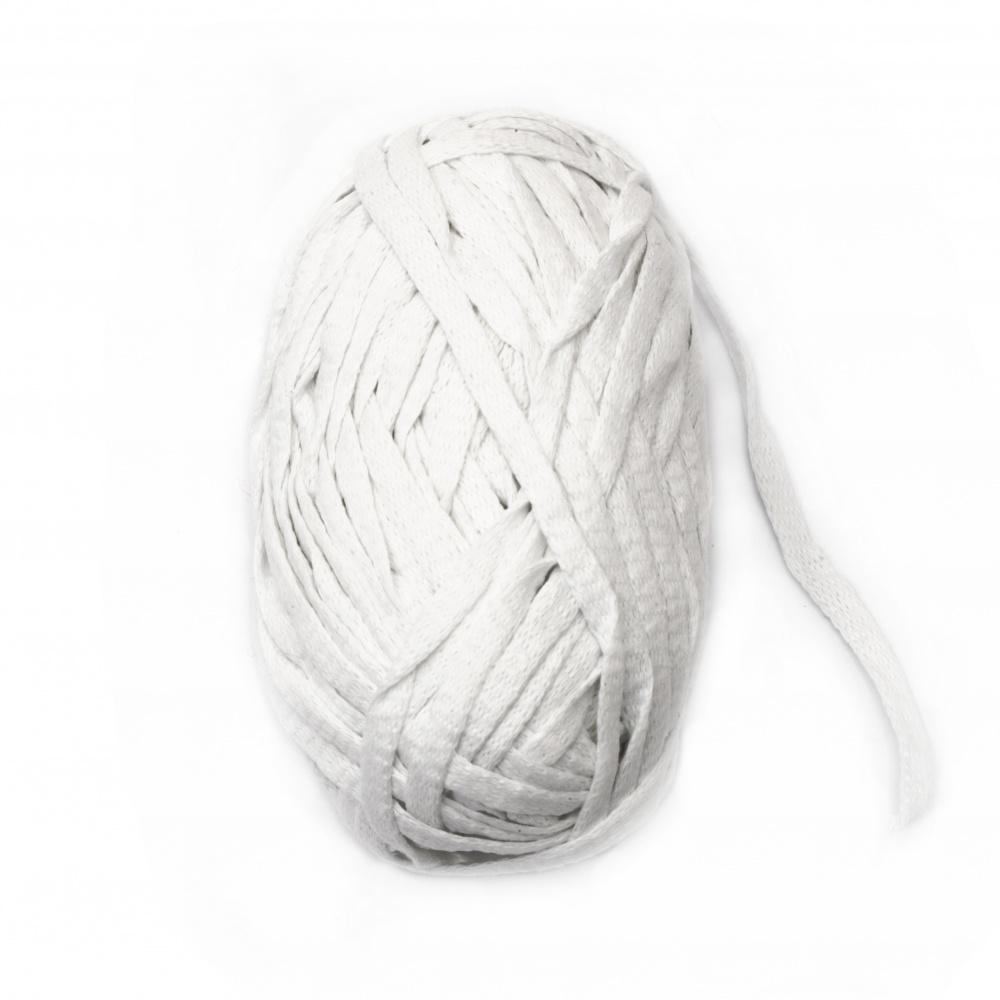 Прежда лентовидна 7-8 мм 80 процента памук 20 процента полиестер бяла 100 грама- 50 метра