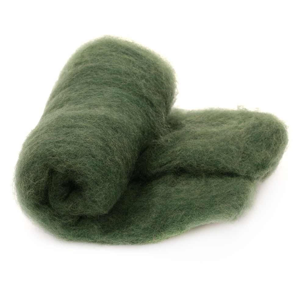 ВЪЛНА 100 процента Филц за нетъкан текстил 700x600 мм екстра качество зелена тъмна -50 грама