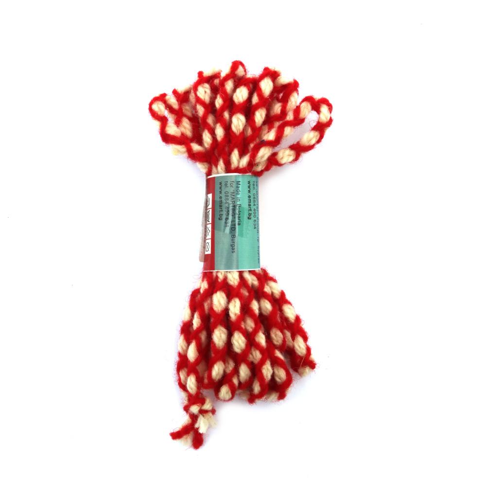 Шнур объл 6 мм 100 процента вълна цвят бял, червен -3 метра