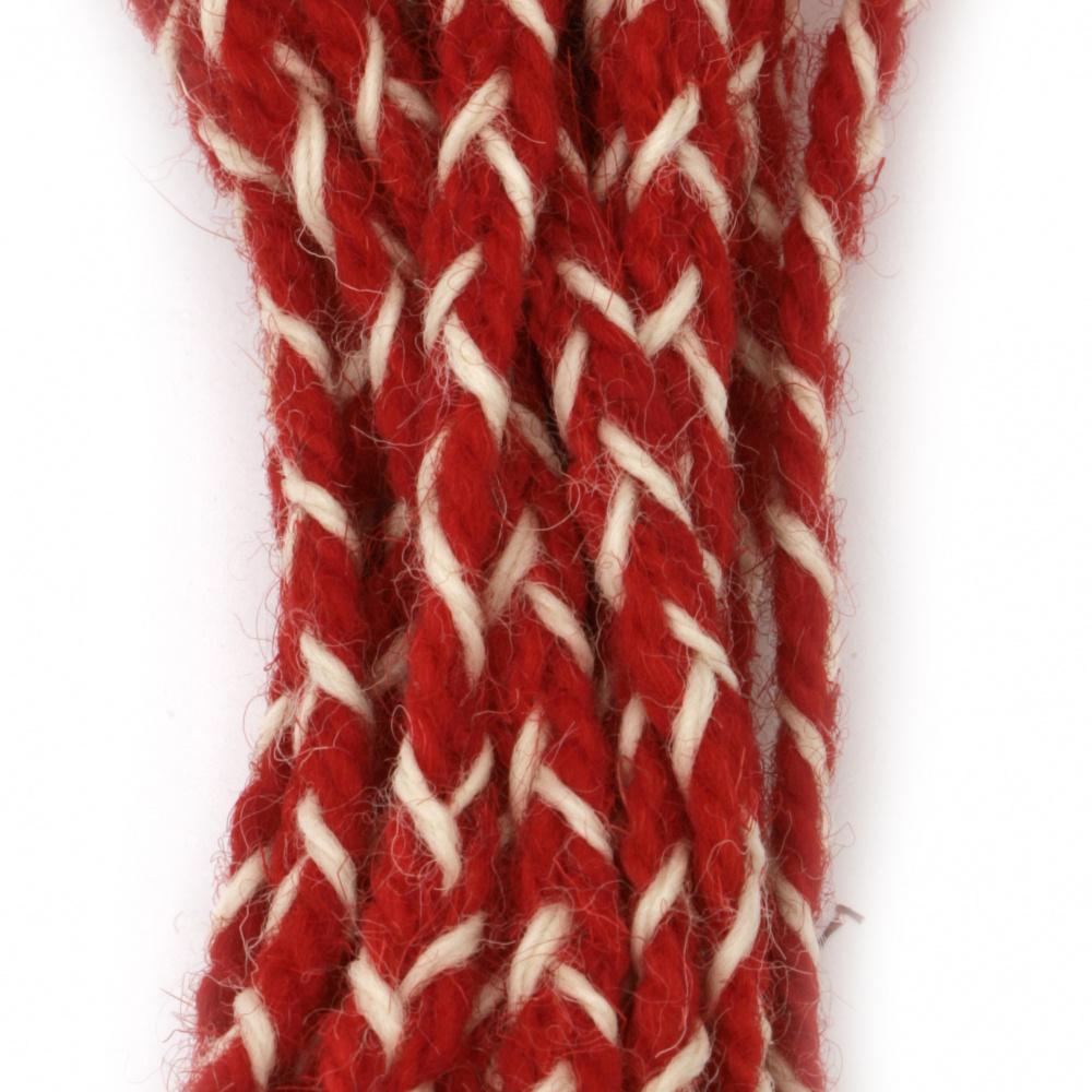 Шнур/за мартеници/ плосък плитка 8 мм 100 процента вълна цвят червен, бял -3 метра