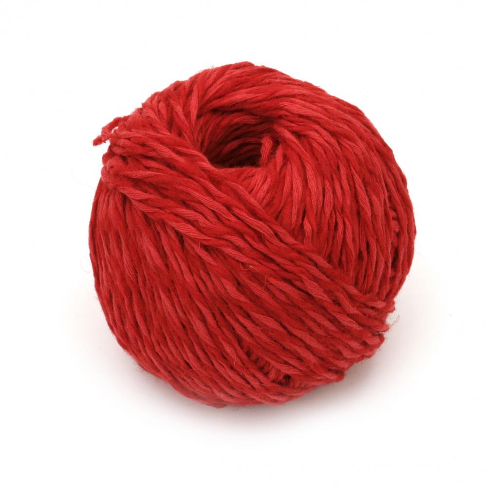 Прежда АНТИК 55 % вълна 45 % памук цвят червен 50 грама -100 метра