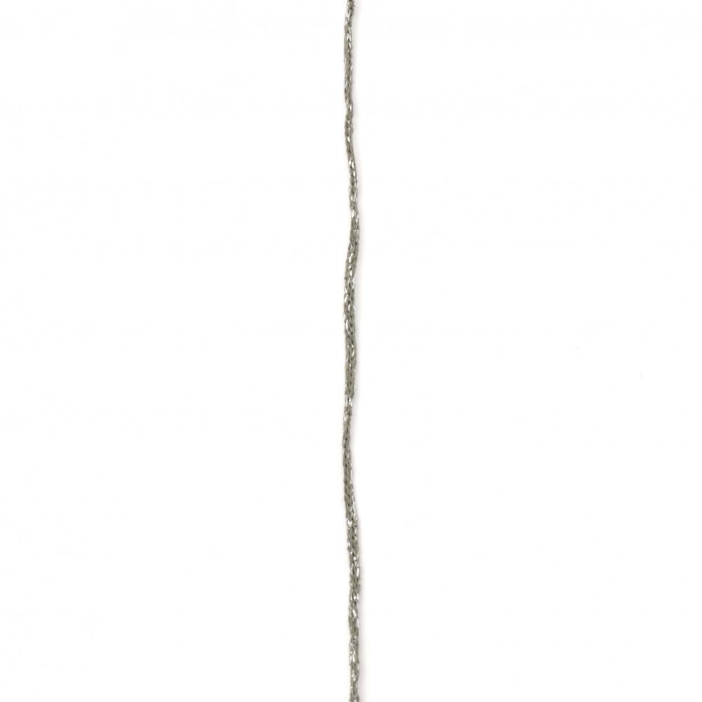 Макраме КОТОН ЛУКС 3 мм зелено със сребърно ламе -186 м -200 грама