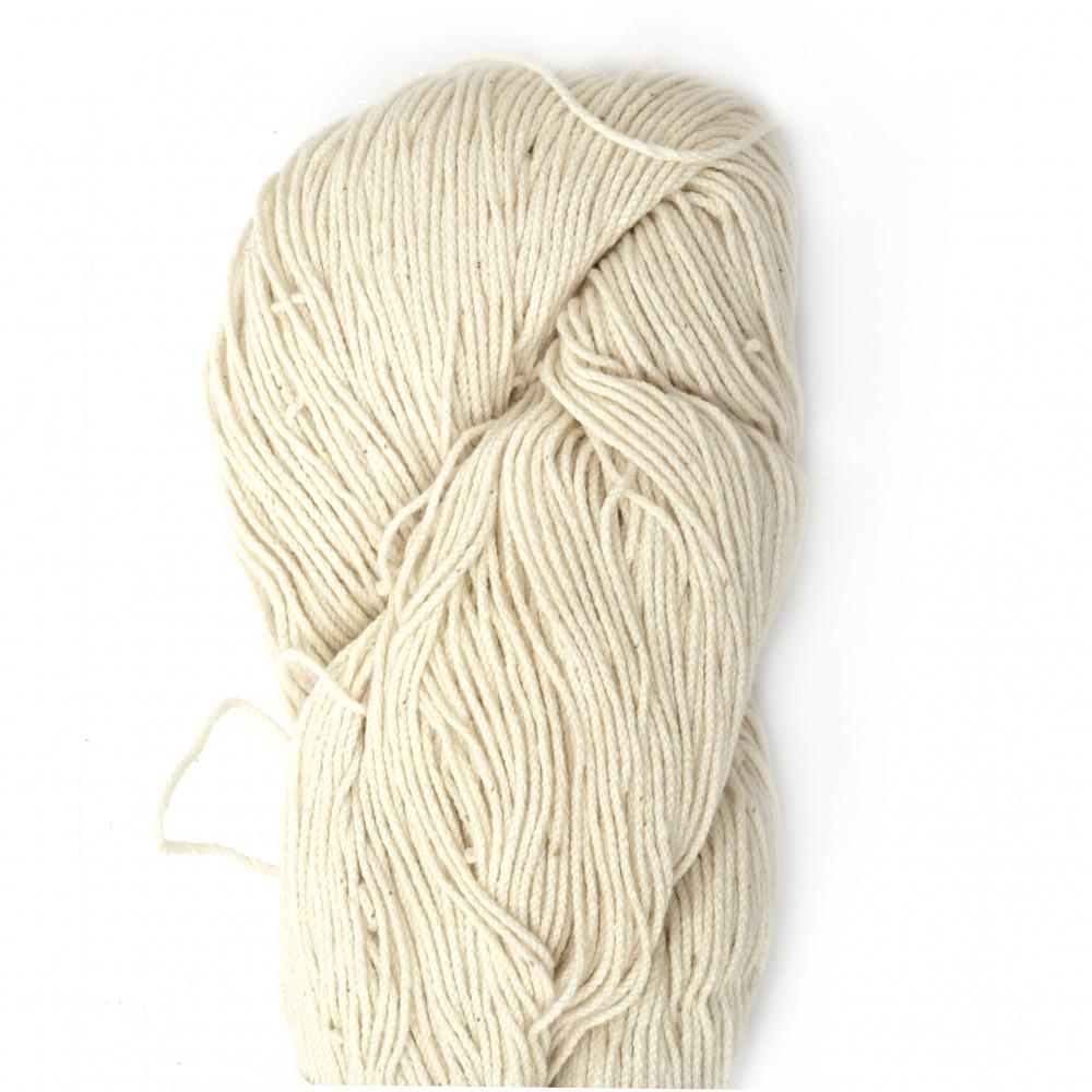 Тире 20/6 памук 100 % мерсеризиран, пениран цвят бял 100 грама -330 метра