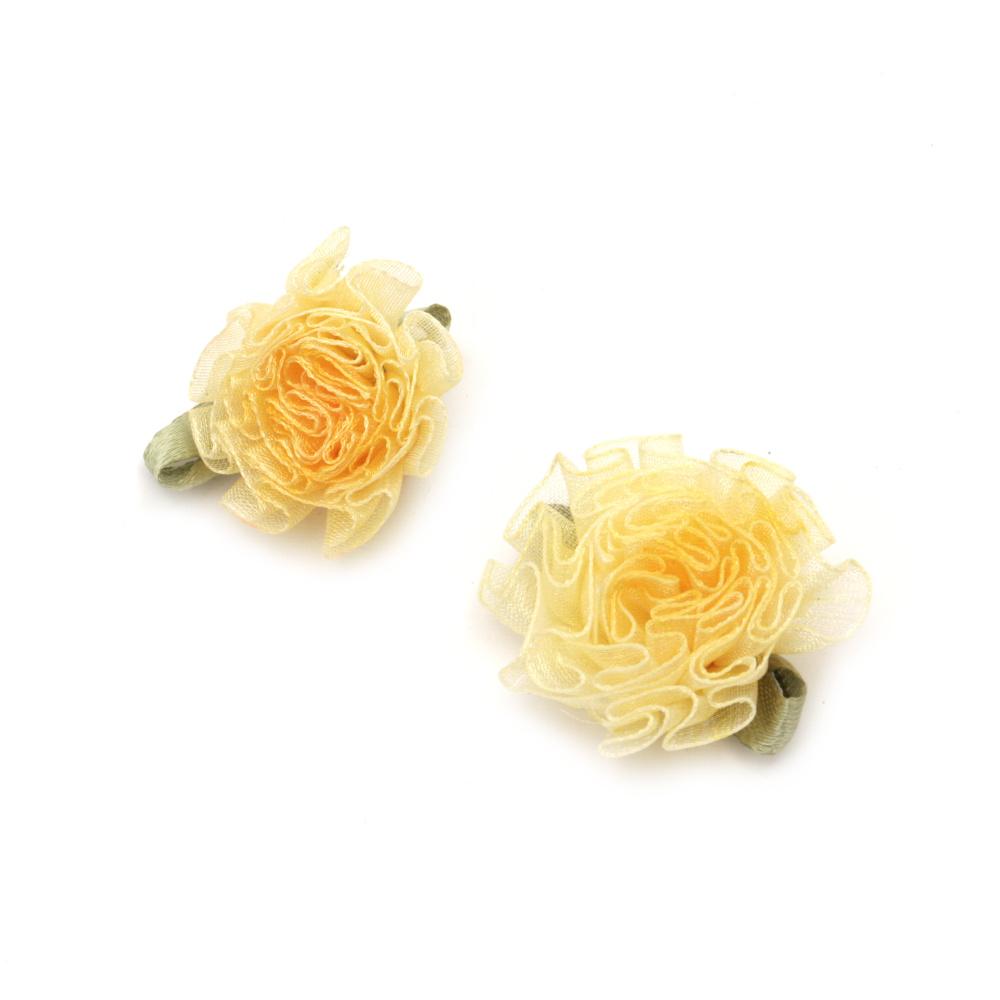 Rose 30 mm organza with orange leaf -10 pieces