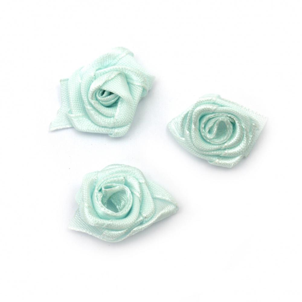 Τριαντάφυλλα σατέν 25 mm γαλάζιο -10 τεμάχια