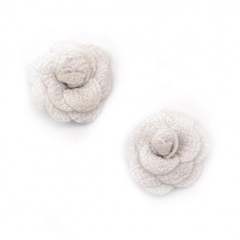 Decorative Fabric Rose, Cream Color 30mm 5pcs