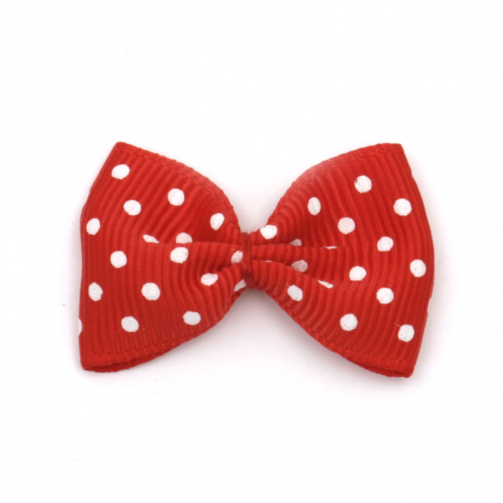 Ribbon 35x25 mm red with white dots - 10 pieces
