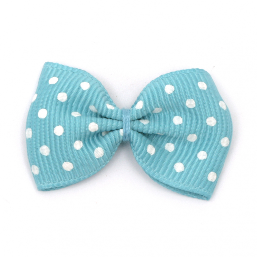 Ribbon 35x25 mm blue with white dots rips -10 pieces