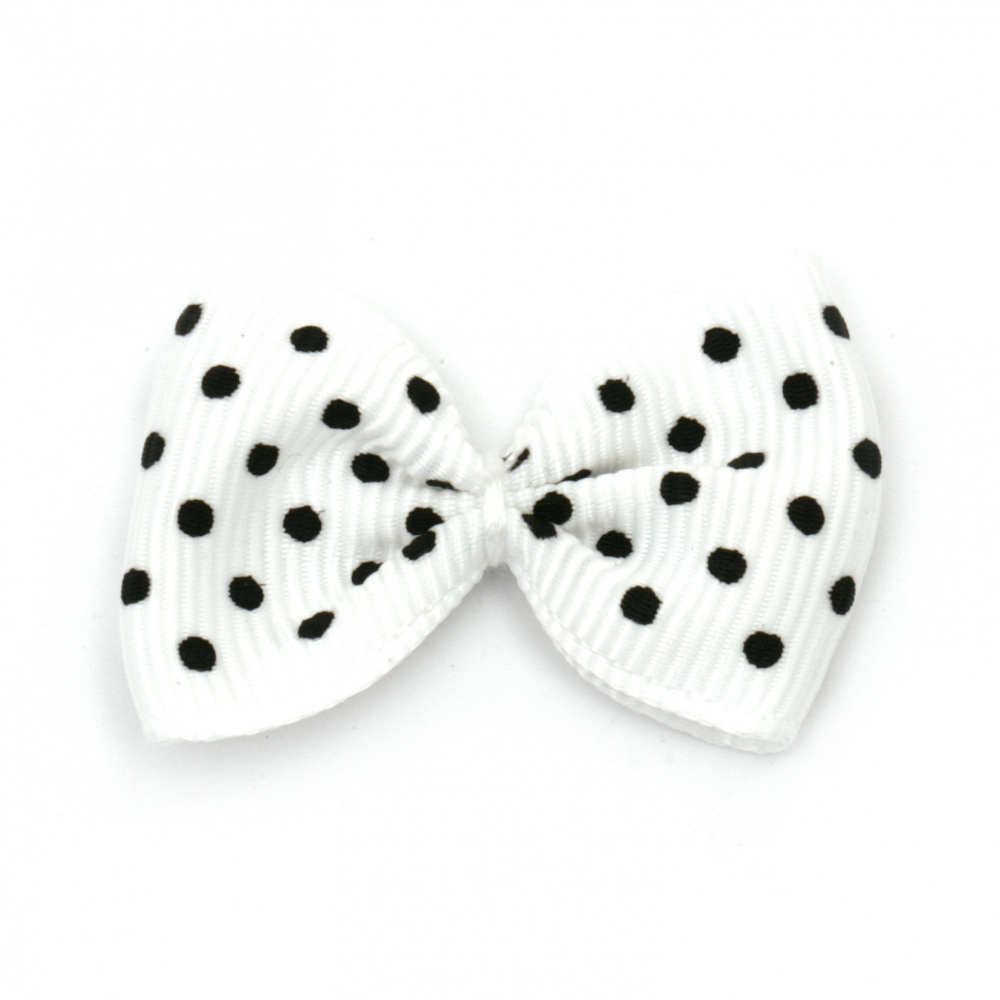 Ribbon 35x25 mm white with black dots rips -10 pieces