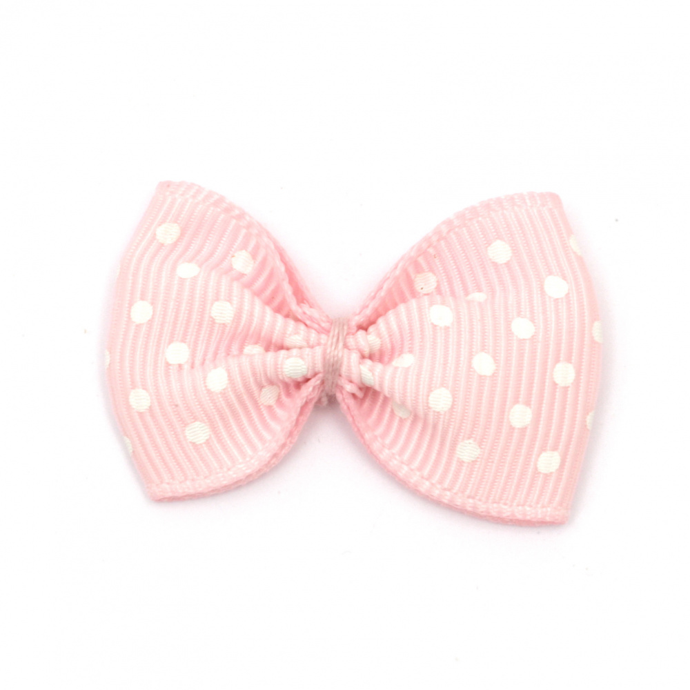 Ribbon 35x25 mm pink with white dots rips -10 pieces