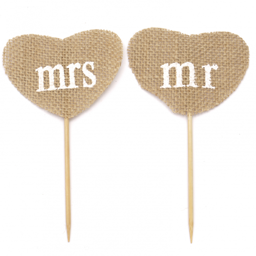 Burlap Set of hearts on stick for decorations, DIY Craft projects - 2 pieces