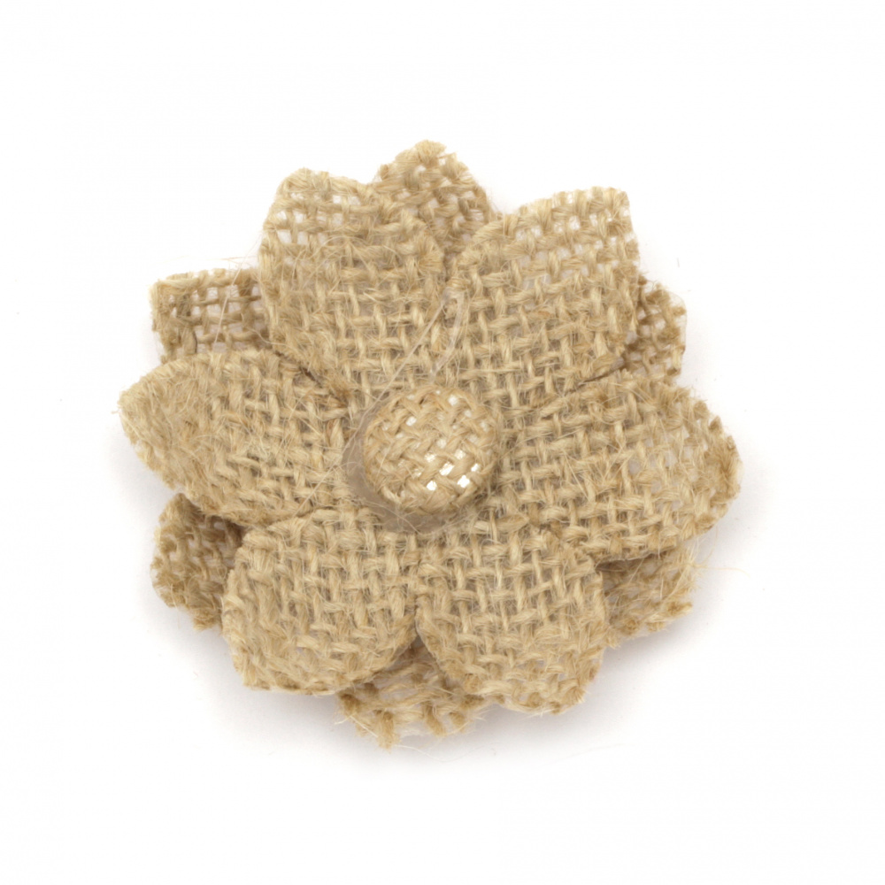 Flower for decoration sackcloth 65x65 mm two sepals