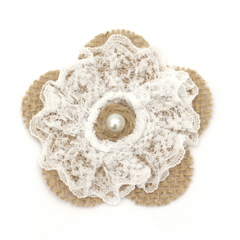 Flower for decoration sackcloth 70x70 mm lace and pearl