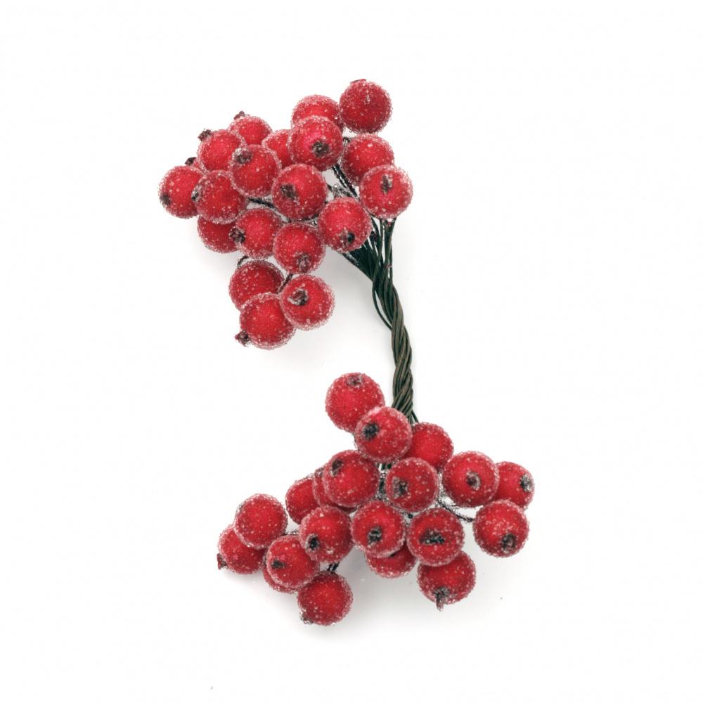 Sugar Effect Decorative Stamens, Red Two-Sided, 12x12x145mm, ±20 pcs