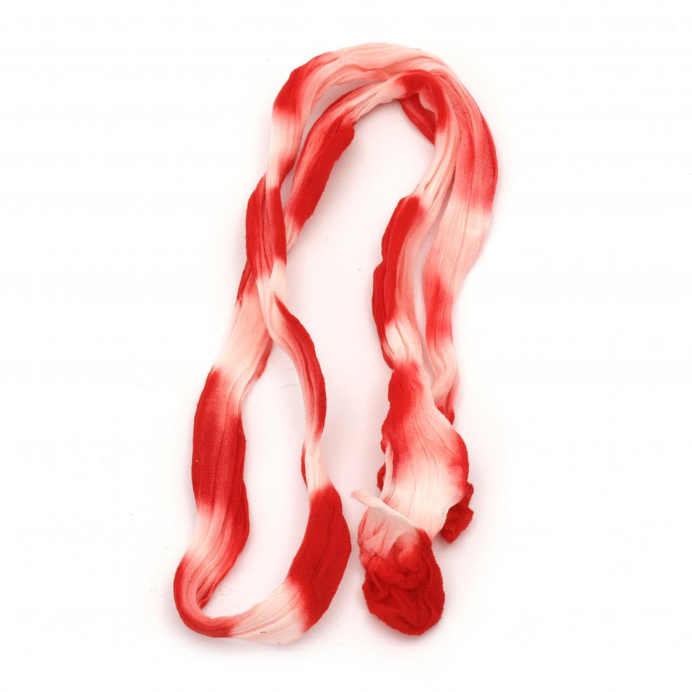 Полиестерен ръкав за найлонови цветя /тип чорапогащник/ двуцветен преливащ бяло-червен -пакет 5 броя