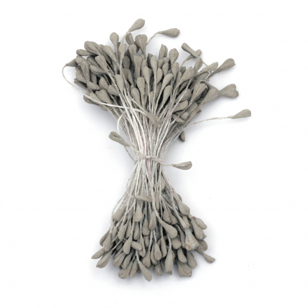 Stamens double-sided  for Decoration 3x5x60 mm color gray pastel ~130 pcs.
