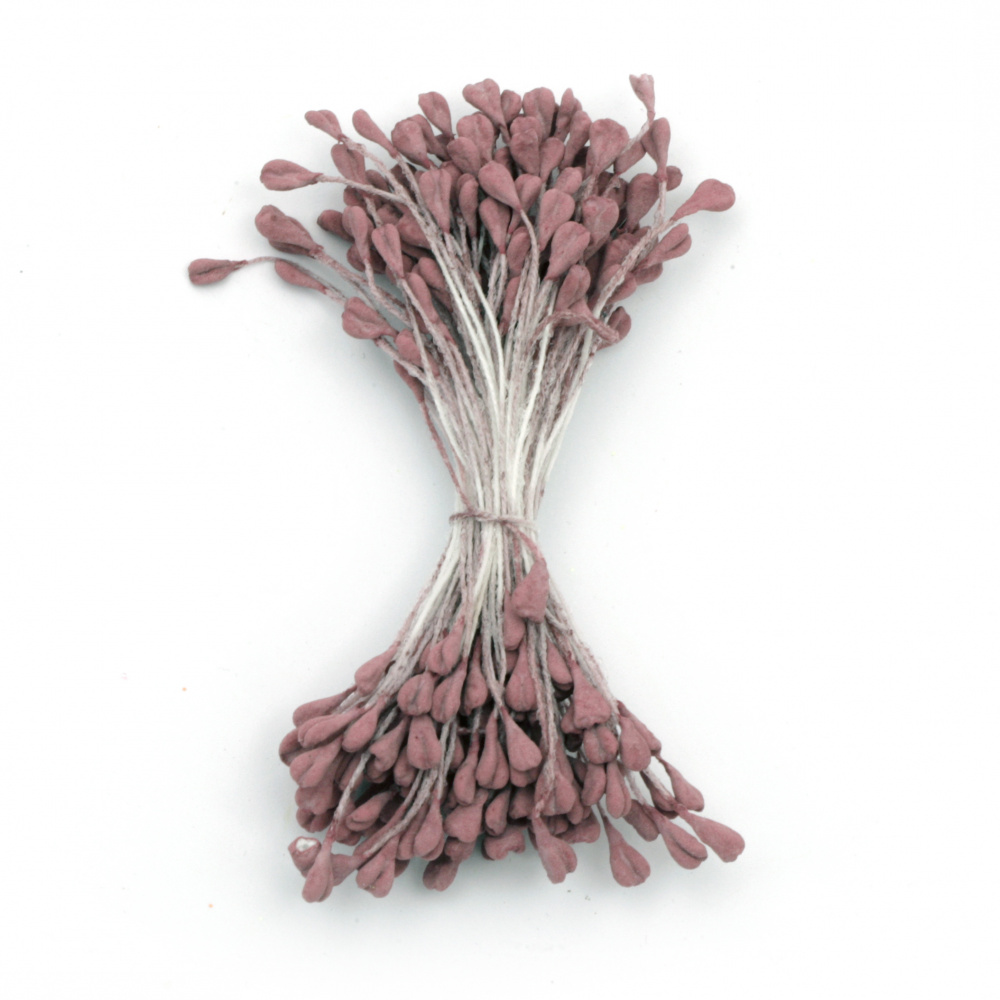 Stamens double-sided 3x5x60 mm dark red pastel color ~130 pcs