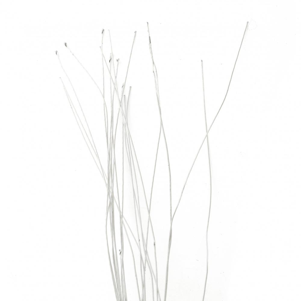 Fir floral 1 mm cu acoperit cu hârtie ~ 80 cm culoare argintiu -20 bucăți