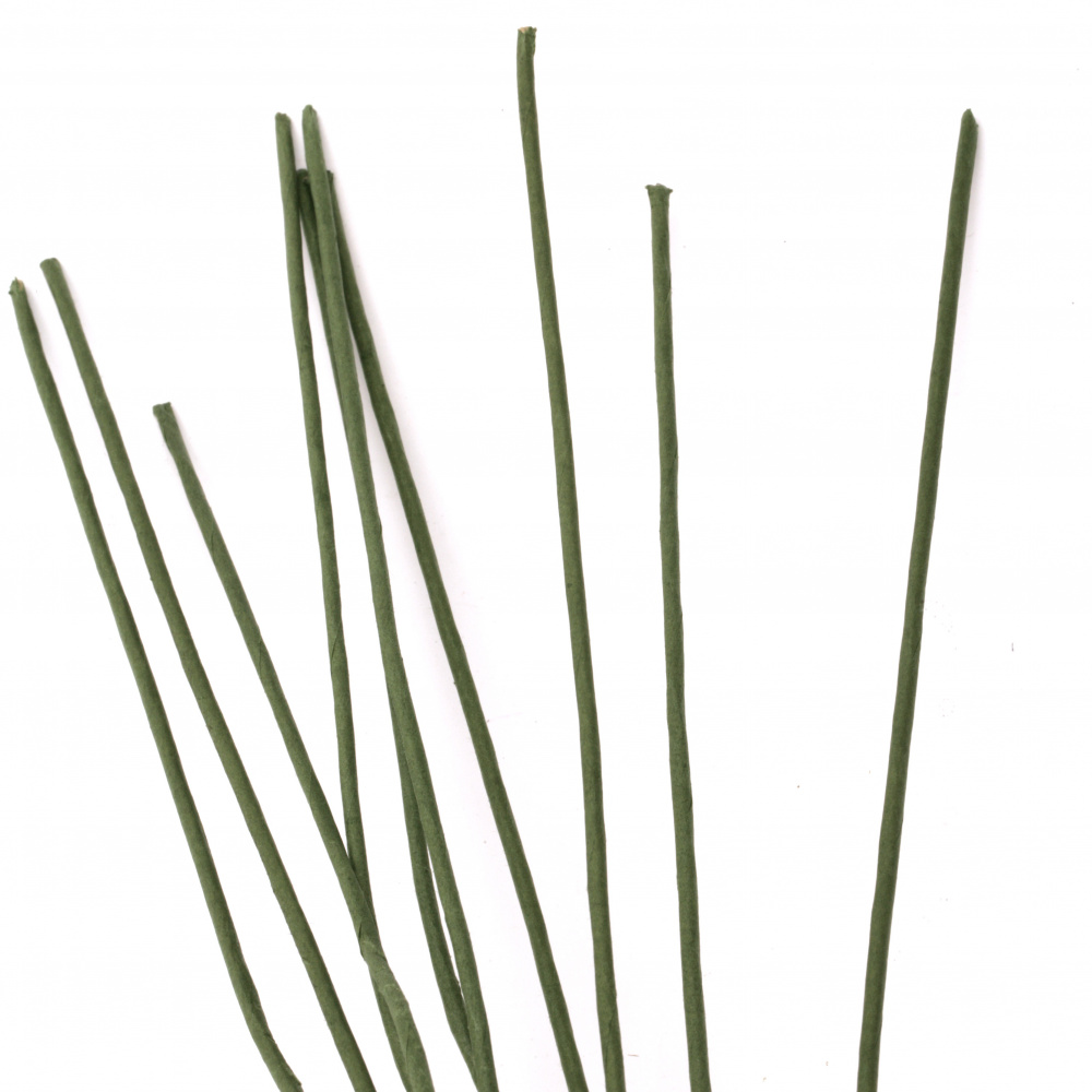 Floral wire coated with green paper 2.5 mm ~ 67 cm  - 10 pieces
