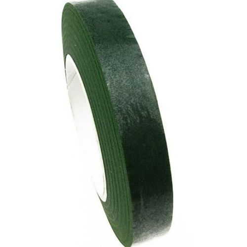Adhesive floral tape from crepe for handmade home decoration, bouquet making 13 mm green ± 28 meters