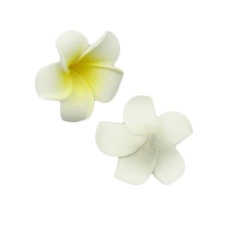 Frangipani plumeria, EVA foam flower  40 mm white yellow - 5 pieces