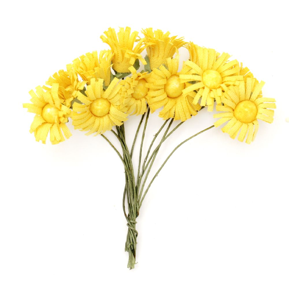 Vivid sunflower bouquet in yellow 20x80 mm - 12 pieces