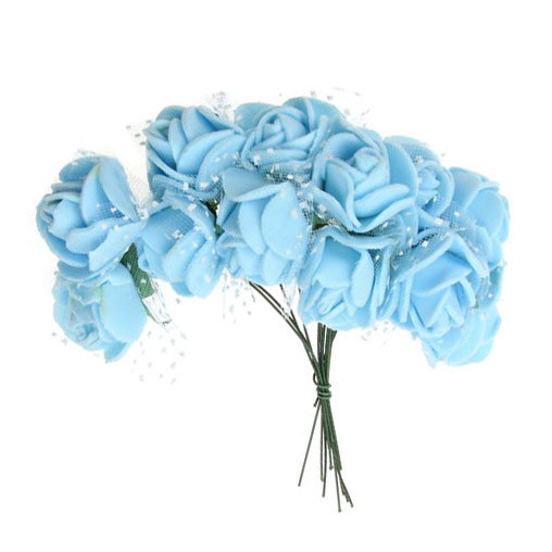 EVA Foam and organza Rose bouquet 25x80 mm with wire stems, light blue - 12 pieces