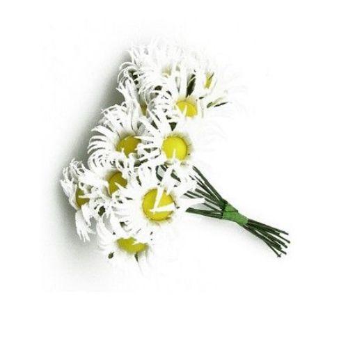 Λουλούδια λευκά 25x90 mm από ύφασμα -12 τεμάχια ανά ματσάκι,
