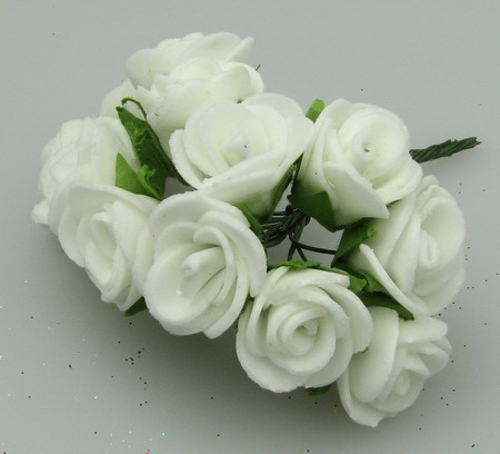 Buchet de trandafir cauciuc alb de 15 mm -10 bucăți
