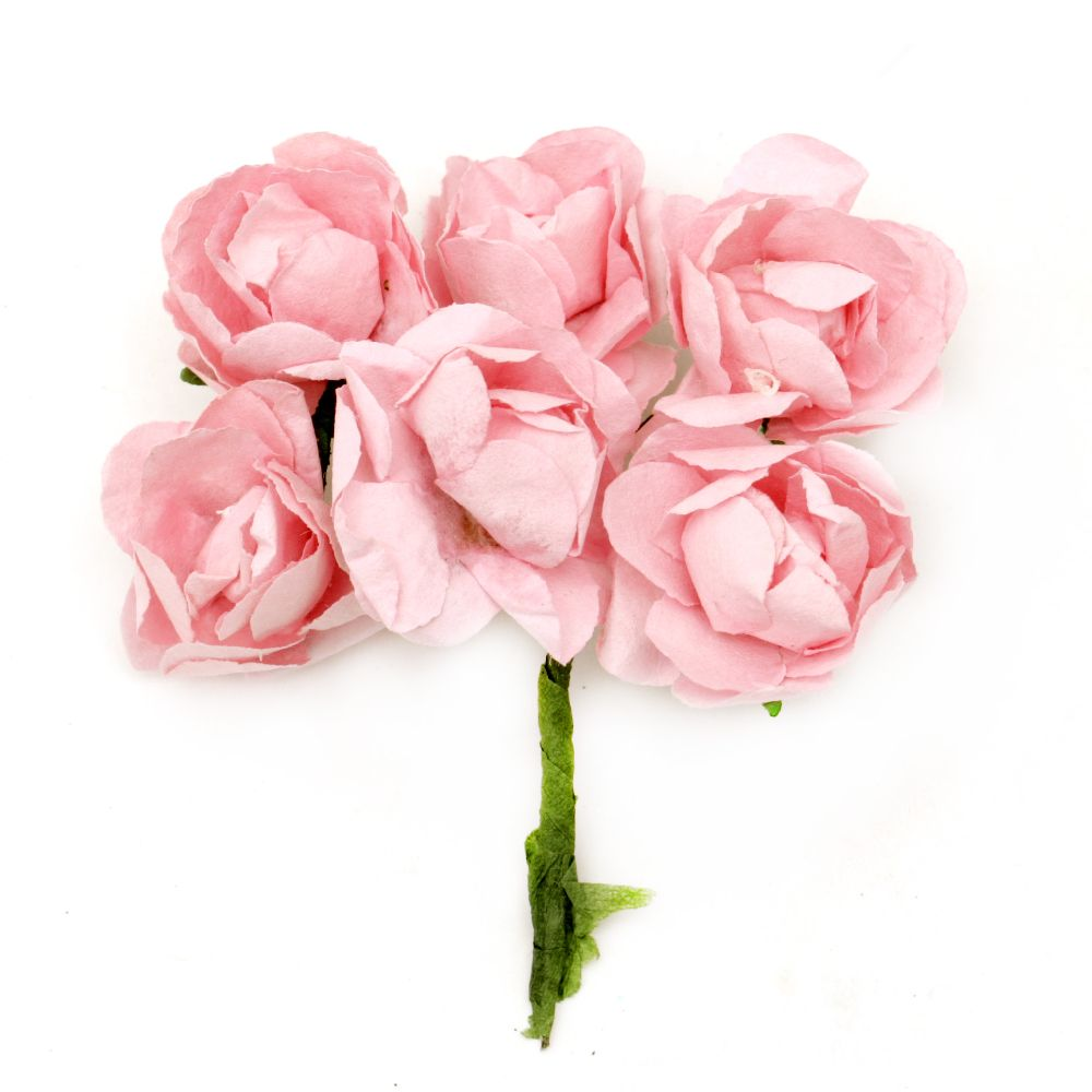 Bouquet of paper Roses with wire stems for decoration 30x80 mm pink light - 6 pieces