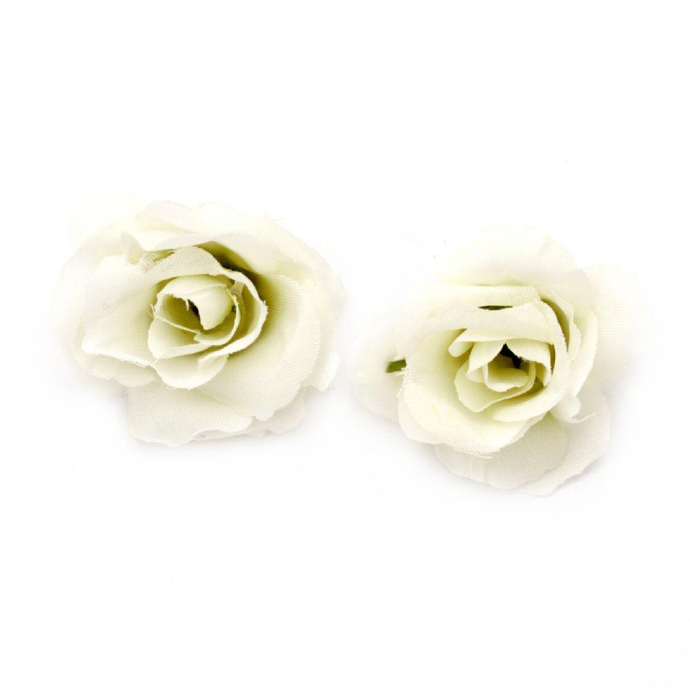Τριαντάφυλλο κεφάλι  40 mm με βάση για τοποθέτηση - λευκό - 10 τεμάχια