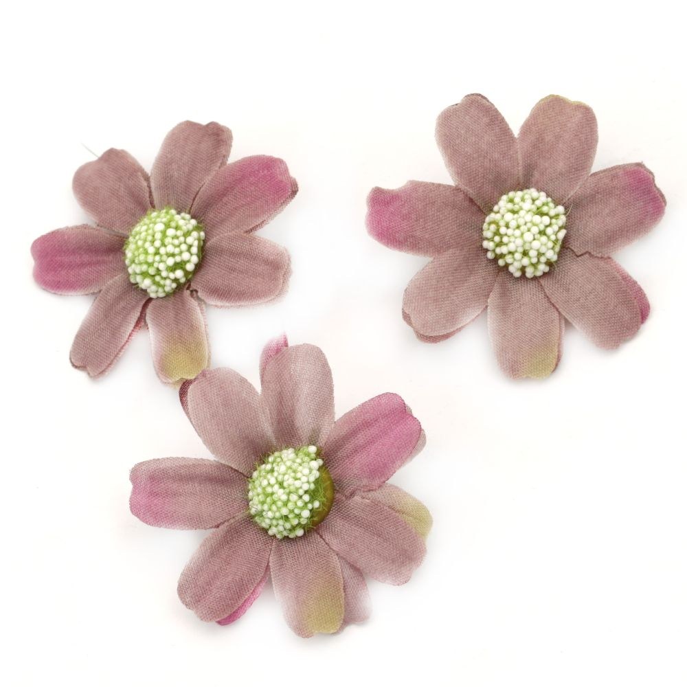 Flower daisy 45 mm with stump for installation pink purple - 10 pieces