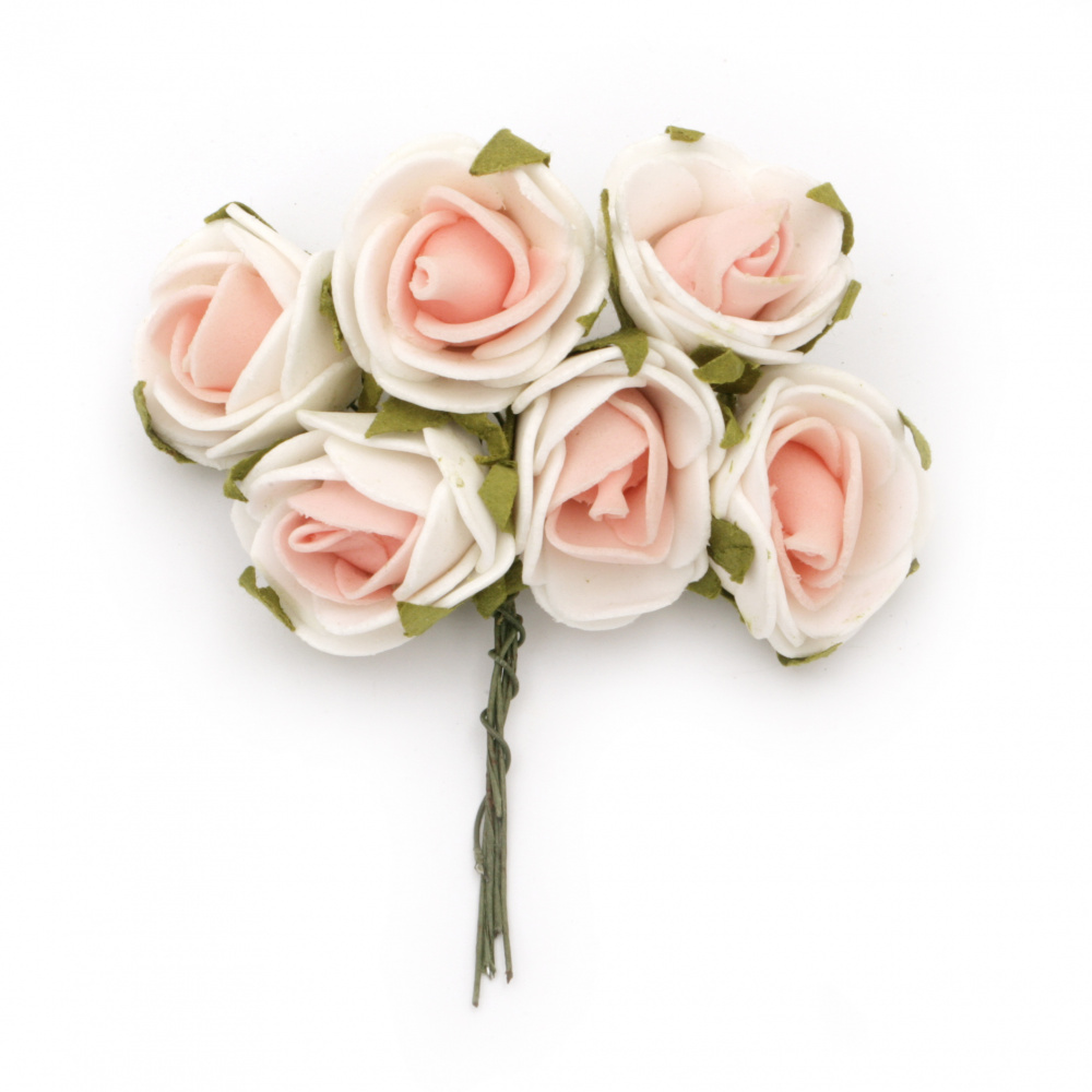 EVA Foam Rose bouquet 25x90 mm with Wire Stems, color white pink - 6 pieces