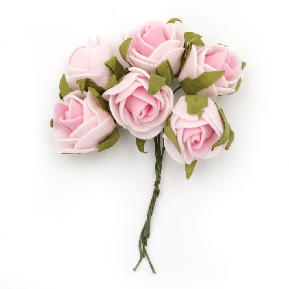 EVA Foam Rose bouquet 25x90 mm with wire stems for festive table decoration, color pink - 6 pieces