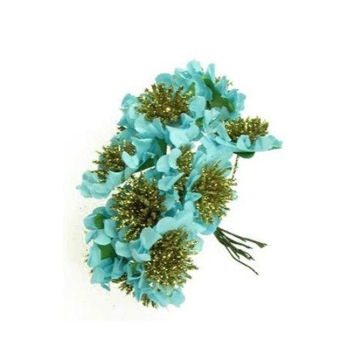 Цвете букет хартия и тел 35 мм брокат синьо -12 броя